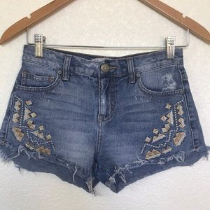 Free people embroidered cut off shorts sz 24